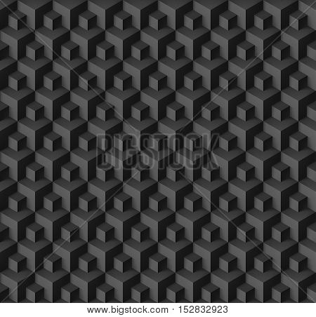 Abstract geometric background with cubes in black color