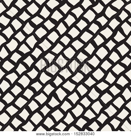Vector Seamless Black and White Hand Drawn Diagonal Rectangles Lines Pattern. Abstract Freehand Background Design