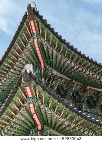 Closeup of the roof of Gwanghwamun Gate in Seoul, Korea.