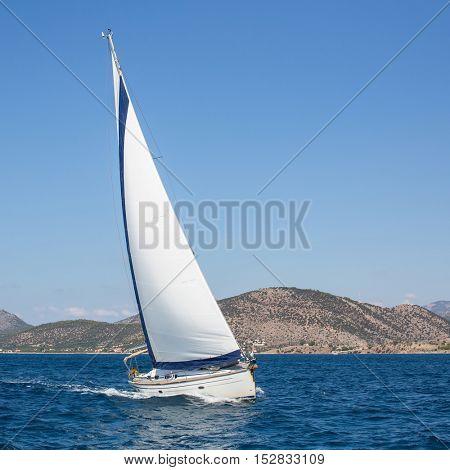 Sailing ship yachts regatta on the sea.