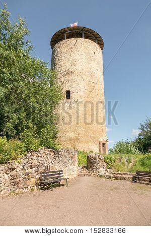 Ruin tower Burg Lowenstein in Bad Zwesten in Germany.
