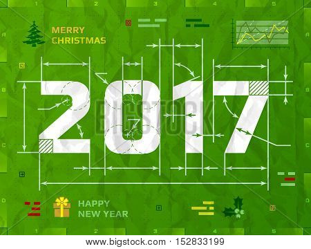 New Year 2017 as technical blueprint drawing. Drafting of 2017 on crumpled paper. Vector illustration for new years day christmas winter holiday new years eve engineering silvester etc