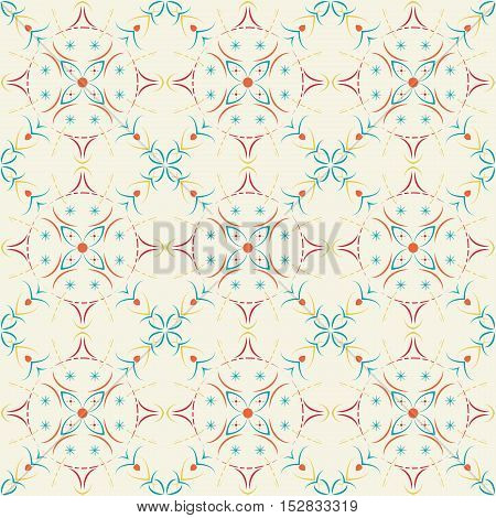 Seamless pattern of curved lines on a bright background.