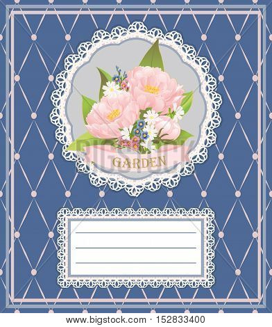 Background, card, invitation card with pink peonies, chamomiles and forget-me-nots.
