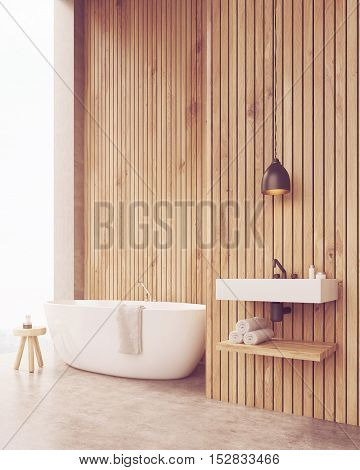 Side View Of Sunlit Bathroom With Sink