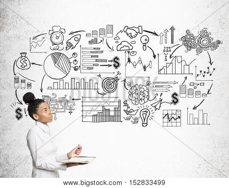 African Girl With Notebook And Startup Icons