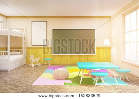 Sunlit Children's Room With Blackboard