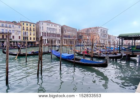 Venice Italy - October 16 2016:gondolas navigating on the Grand canal in Venice