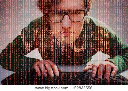 Close up of nerdy guy with keyboard and red data flow and word virus on the foreground. Concept of internet security. Double exposure