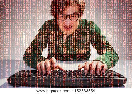 Nerdy guy close up with keyboard and red data flow and word virus on the foreground. Concept of internet security. Double exposure