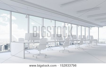 White office interior with city panorama and computers on desks. Concept of open space office. 3d rendering. Mock up