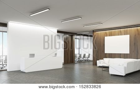Side View Of Reception Desk And Sofas