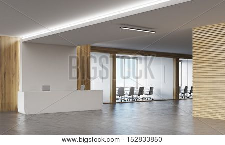 Side View Of Meeting Room And Reception Desk
