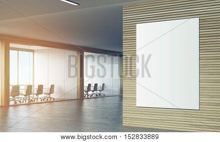 Poser In Sunlit Wooden Corridor Of Company