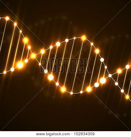 Neon dna spiral. Abstract background. Vector illustration. Eps10