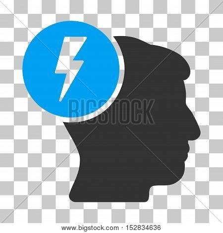 Blue And Gray Brain Electricity toolbar pictogram. Vector pictograph style is a flat bicolor symbol on chess transparent background.