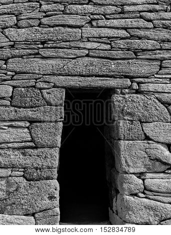 The Gallarus Oratory is Ireland;s best preserved early Christian church.  It is over a thousand years old and is constructed totally of dry stone. Pictured here is the door of the Oratory.