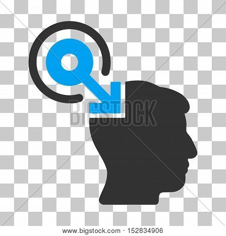 Blue And Gray Brain Interface Plug-In toolbar icon. Vector pictogram style is a flat bicolor symbol on chess transparent background.