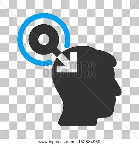 Blue And Gray Brain Interface Plug-In interface pictogram. Vector pictograph style is a flat bicolor symbol on chess transparent background.