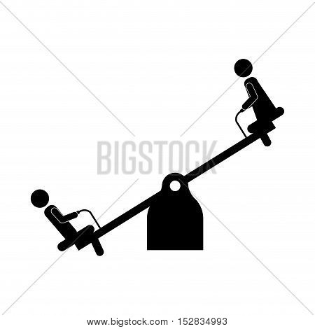 playground seesaw kids entertainment attraction over white background. vector illustration