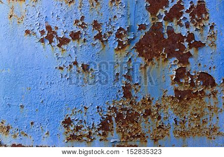 The texture of Metal with Blue Paint
