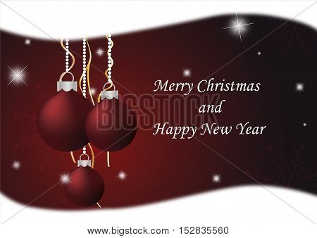 Christmas background with red Christmas ornaments, snowflakes and shining stars
