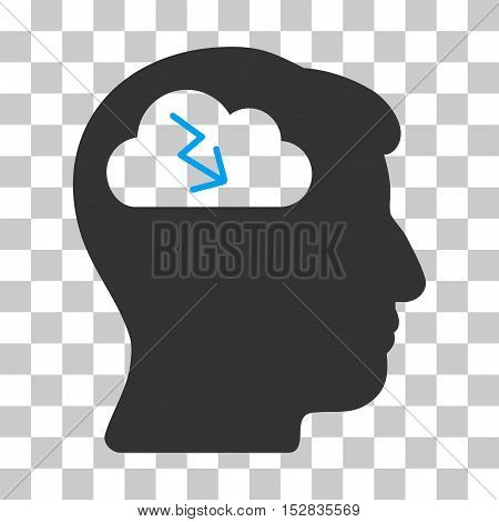 Blue And Gray Brainstorming interface pictogram. Vector pictograph style is a flat bicolor symbol on chess transparent background.