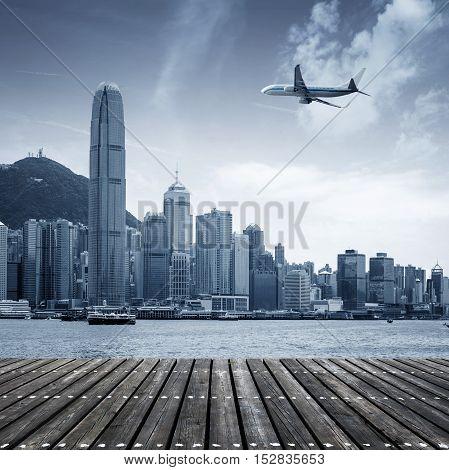Visitors to Hong Kong Victoria Harbor, cruise ships and the horizon.