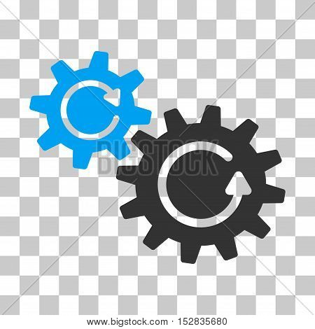 Blue And Gray Cogs Rotation interface icon. Vector pictogram style is a flat bicolor symbol on chess transparent background.