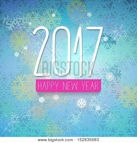 2017 New Year simple designed greetings card with colorful background with blue green color scheme with snowflakes