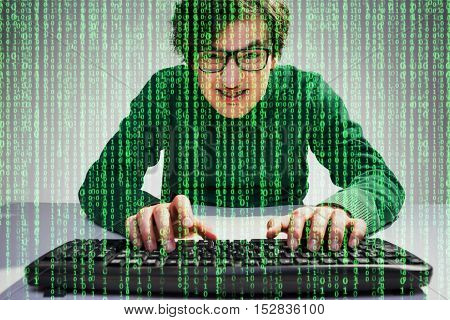 Nerdy Guy With Green Data Flow