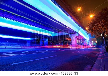 Shanghai, China Busy elevated overpass night view.