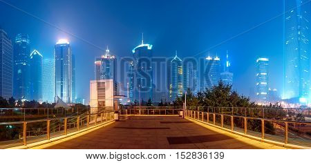 Night view of city skyline of Pudong New District, Shanghai, China.