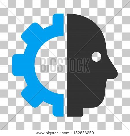 Blue And Gray Cyborg Head interface toolbar pictogram. Vector pictogram style is a flat bicolor symbol on chess transparent background.