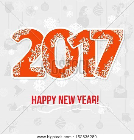 2017 modern style red gray white color scheme new year greetings card on white background with gray swirls and white snowflake with shadows. Flat design element. Bright mood.