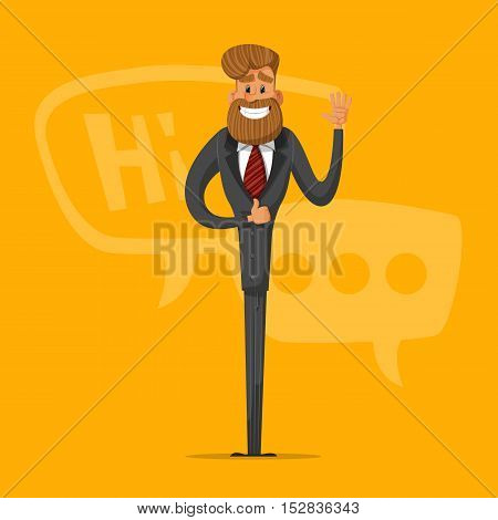 Happy man businessman greets and says that everything is OK. Stylish businessman-hipster.