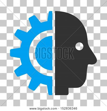 Blue And Gray Cyborg Head toolbar icon. Vector pictogram style is a flat bicolor symbol on chess transparent background.