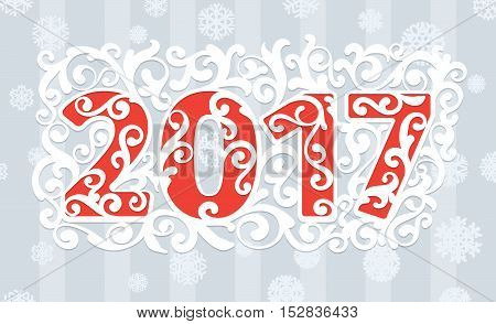 2017 modern style red gray white color scheme new year greetings card on light gray background with white swirls and white snowflake with shadows. Flat design element. Bright mood.