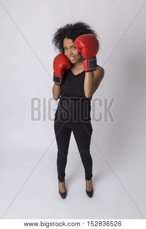 Top View Of Smiling African American Boxer Girl