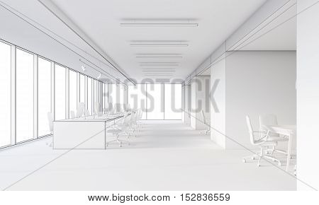 White Office With Large Tables And Computers