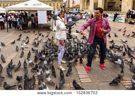 COLOMBIA, BOGOTA - CIRCA MAY 2013: Many pigeons on Bolivar Simon Square in Bogota, Colombia.