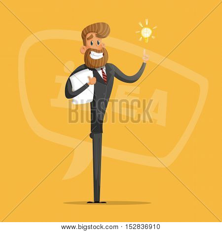 Happy businessman or manager comes up with ideas.