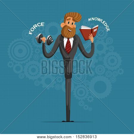 Happy businessman or manager shapes his strength and mind.