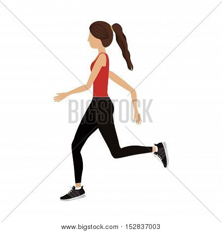 avatar woman running with sport clothes over white background. fitness lifestyle design. vector illustration