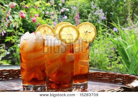 Summer lemon ice tea in the garden.