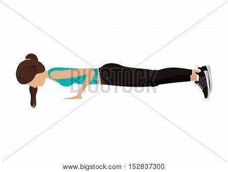 avatar woman stretching with sport clothes over white background. fitness lifestyle design. vector illustration