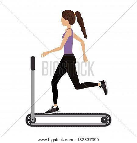 woman training on running band gym equipment. fitness lifestyle design. vector illustratio