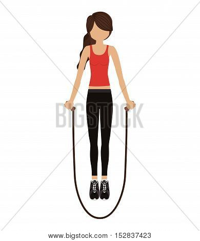 avatar woman jump rope down with sport clothes over white background. fitness lifestyle design. vector illustration