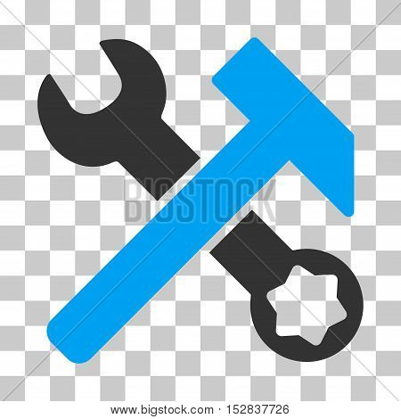 Blue And Gray Hammer and Wrench interface pictogram. Vector pictograph style is a flat bicolor symbol on chess transparent background.