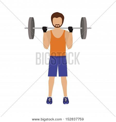 man workout with dumbbells and wearing sport clothes over white background. fitness lifestyle design. vector illustration